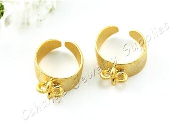 1 pc Gold Hammered Ring Base, (19mm x 9mm) Gold Ring Settings, 24k Matte Gold Plated Ring Setting, Brass Gold Ring Blank / GPS-198