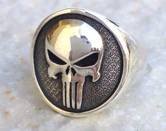 Heavy 3D The Punisher Skull Ring Solid Sterling Silver 925