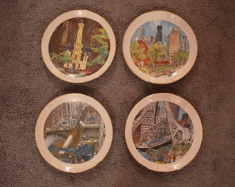 4 Vintage Chicago Plates by Artist Franklin McMahon