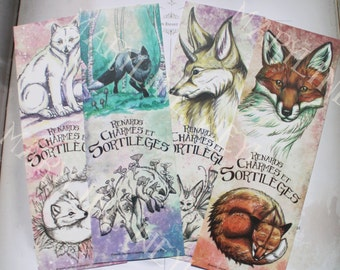 """4 bookmarks """"foxes, charms and spells"""""""