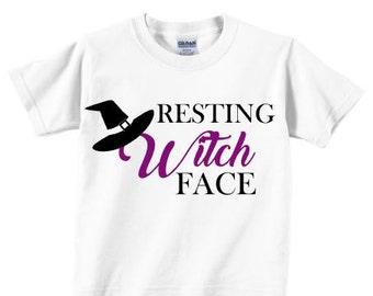 Resting Witch Face kids halloween shirt. Girls Halloween Shirt. Witch Shirt