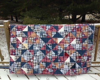 Plaid flannel throw or lap quilt  Handmade  Cozy Rustic Cabin feel