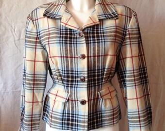 Vintage fabric Jacket Scottish beige color, Miss Liberto, F 38, US 28, UK 10 size.
