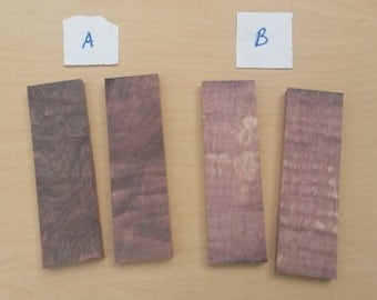 "Dyed and Stabilized Curly Maple Knife Scales 3/8"" + x 1 1/2"" x 5""- Choose by LETTER"