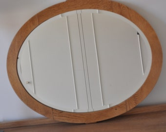 S O L D - Vintage Oval, Oak Timber Wall Mirror - cottage, provincial