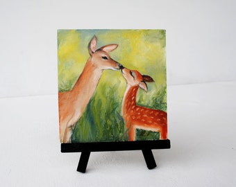 Painting of Mom and Baby Deer.  Original Oil Painting