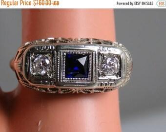 ON SALE Antique Art Deco Filigree Diamond Sapphire Ring 18k White Gold