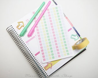 Mini Squares Sticker Sheet : Sweet Pea Theme Planner Stickers