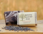 Relaxing Lavender Soap - Handmade for sensitive skin or eczema, Herbal soap with essential oils and alkanet root powder