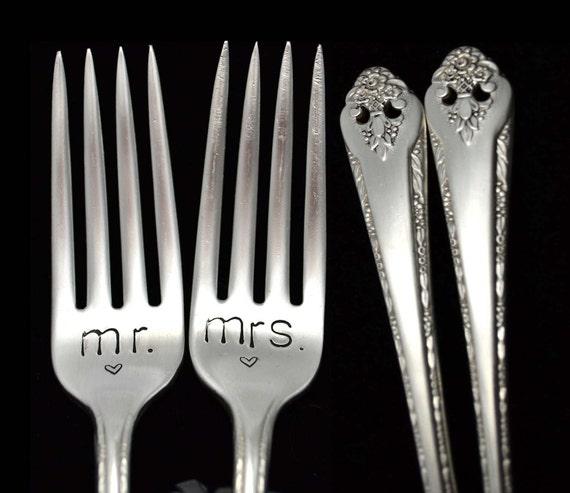 Silverware Wedding Gifts: Mr Mrs Fork Stamped Wedding Silverware Engraved Forks