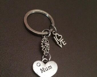 Mum + LOVE Charm Keyring  - Keychain Bag Charm