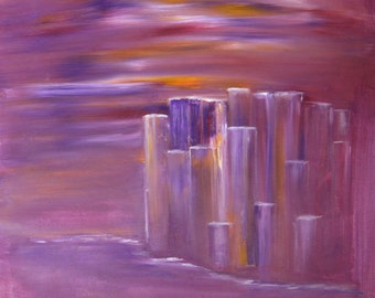 Purple Sunset Cityscape Painting Acrylic On Unstretched Canvas Abstract Cityscape Purple Painting Original Art Contemporary 19x20""