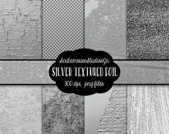 70% OFF THRU 5/28 Silver Digital Paper, Silver Foil, 12x12 Silver Textured Paper, Silver Metal Foil 300 dpi, commercial use