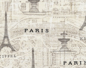 SALE Paris Map Fabric Half Yard, or By-The-Yard; C4564; Novelty Fabric; Timeless Treasures; French Themed