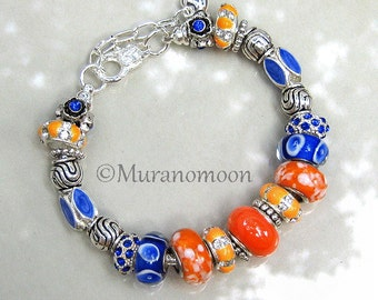 Orange Tangerine Royal Blue Lampwork Glass Bead European Bracelet Swarovski Crystal Beaded Tropical Charm Bracelet #EB1362