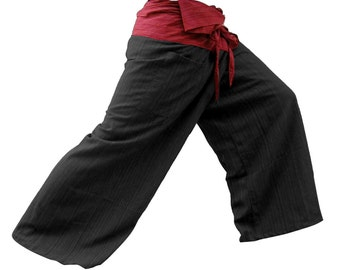 2 TONE Thai Fisherman Pants Cotton (Striped) Black legs.