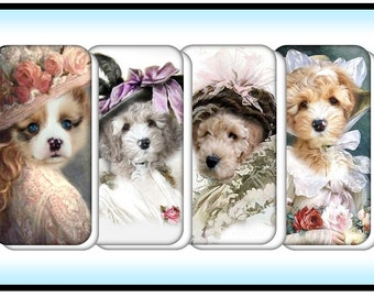Victorian Dogs - 12 Digital Domino Images Download on Purchase - Excellent quality for domino crafting. Original Collages by Simply D Rave
