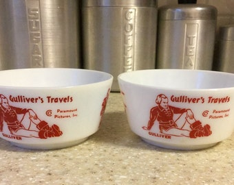 Paramount Pictures Gullivers Travels Promotional Bowls by Hazel Atlas