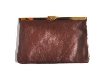 Vintage Brown Faux Leather Clutch Purse