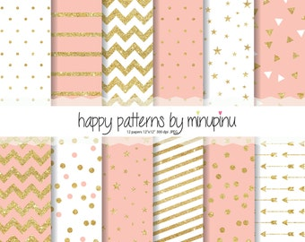 Peach and Gold Glitter Digital Paper, Gold Glitter Patterns, Glam Party backgrounds with stars confetti arrows chevron dots and stripes