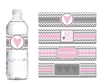 pink and grey chevron baby shower water bottle labels pink water bottle labels pink