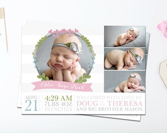 Birth Announcement Card Girl - Baby Picture Announcement - New Baby Announcement Card - New Baby Photo Announcement - Pink and Grey - Floral