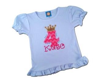 Girl's Pink Chevron Birthday Shirt with Princess Crown Number
