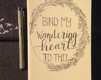 """Hand lettered Moleskine journal """"wandering heart"""""""