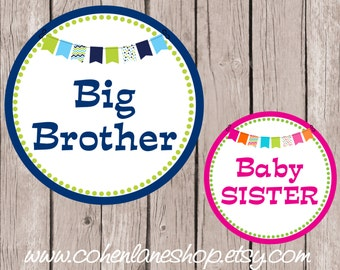 Instant Download Big Brother and Baby Sister Tshirt Transfer Design Combo.  Big Brother Iron On. Baby Sister iron on. Baby Shower Gift.