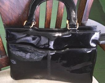 Vintage Black patent leather handbag from Hong Kong