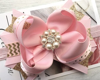 Pink and Gold Bow, pink and Gold Birthday bow, pink and gold bow, big birthday bow, first birthday hair bow, birthday Hair bow, first birth