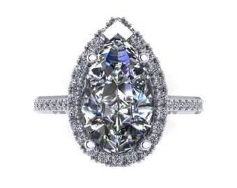 White Sapphire Engagement Ring 18k White Gold 13x8mm Pear Shaped Ring .85ct Natural Diamond Halo Anniversary Ring Pristine Custom Rings