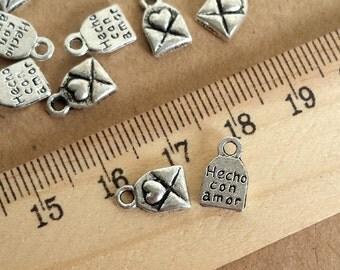 50 pcs 8x6mm   Antique Silver  love Letter  Charm Pendant,  Antique Silver   love heart envelope charm Pendant