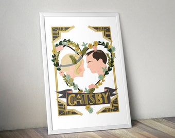 The Great Gatsby A3 print - framed or unframed options available