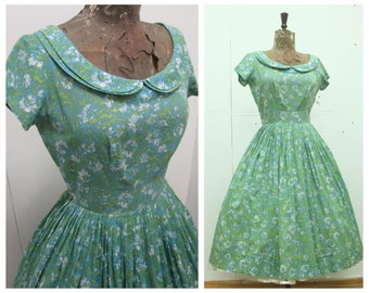 "PRETTY 1950's ""House of Lords Original - New York"" New Look Style Floral Summer Dress - Peter Pan Collar - VLV  - Size S"