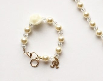 Personalized Initial Charm Bracelet- Swarovski Cream Pearl and Clear Crystals-Baby or Child