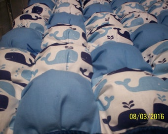 """Whales, one of a kind baby Puff quilt 28"""" x 42"""" cotton, with navy fleece minky on back and border by PerfectGiftPuffQuilt"""