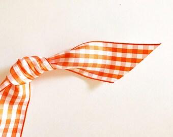 Orange Gingham Ribbon (by the yard)