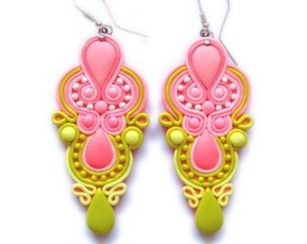 Pink Earrings, Yellow Earrings, Neon Earrings, Big Earrings, Polymer Clay Earrings, Statement Earrings Statement Jewelry Chandelier Earrings