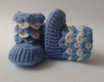 Crocodile Stitch Baby Booties 6-9 months/ Crochet Baby boots Crocodile Stitch