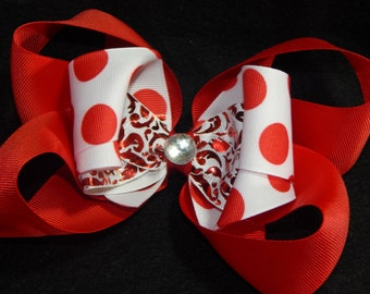 Big Red Boutique Stacked Hair Bow, Polka Dot Hair Bow, Big Hair Bow, Red Hair Bow, Big Red Hair Bow, Girls Hair Bow, Hair Bow, Big Bow, Bows