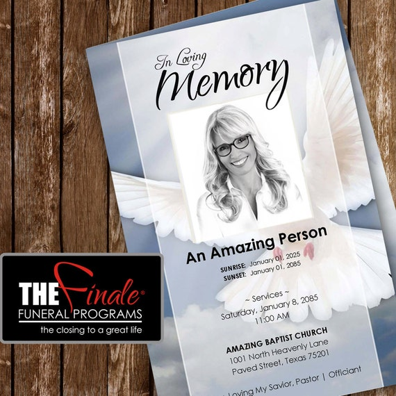 heavenly dove     printable funeral program by