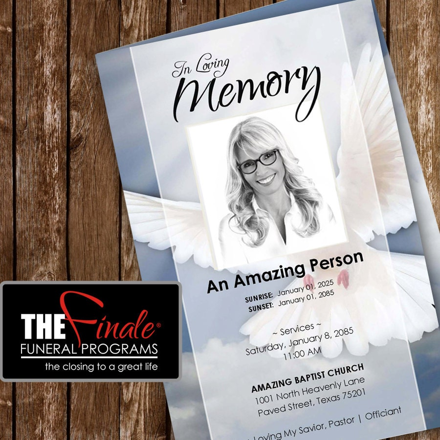DOVE printable funeral program template – Download Funeral Program Template
