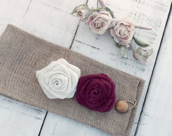 Burlap Tie Back - Tie Back - Burlap Drape Tie Back - Set of 2 - Rustic Home Decor - Hessian Tie Back - Ivory and Burgundy Roses