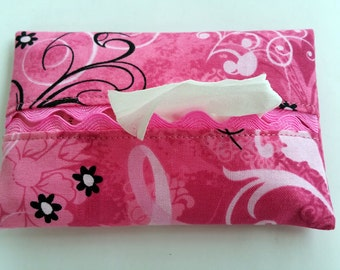 Pink Ribbon Butterfly Tissue Holder, Pink Ribbon Travel Tissue Holder, Pink Ribbon Butterfly Facial Tissue Holder