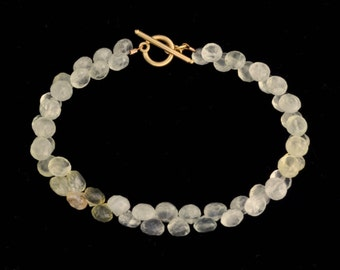 Faceted Prehnite Bead Bracelet