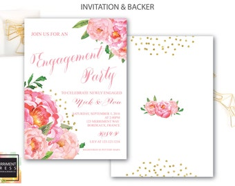 Engagement party Invitation // She said yes // Peonies // Peony// Bridal Invite // Pink // Gold Glitter // BORDEAUX COLLECTION