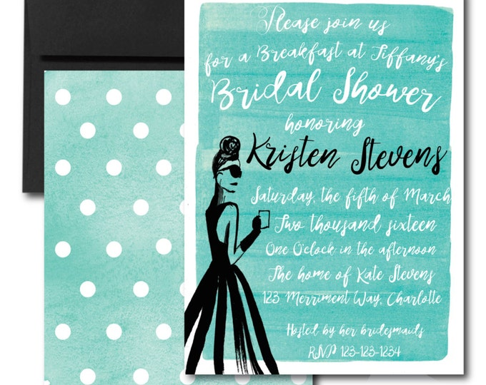 Bridal Shower Invitation // Baby Shower // Blue // Watercolor // Calligraphy // BREAKFAST // Holly Golightly // MANHATTAN COLLECTION