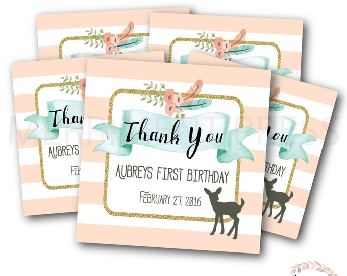 Favor Tags //First Birthday// One // Oh Deer // Fawn // Deer // Peach // Mint // Pink // Printed or Printable DIY // OXFORD COLLECTION
