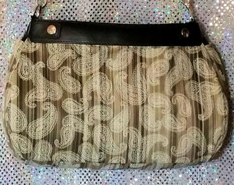 PS 024 Green Striped Paisley Design Suite Skirt COVER ONLY for the 31 Suite Skirt Purse Handmade